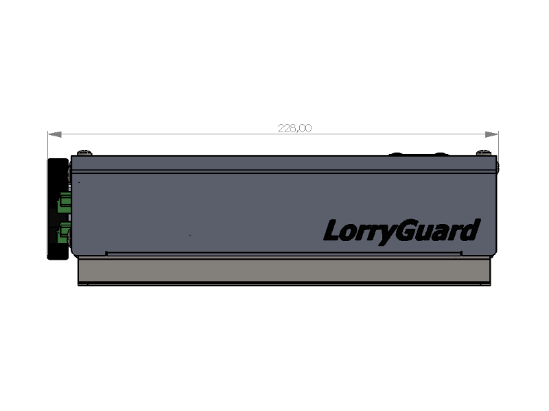 side view of LorryGuard with dimensions